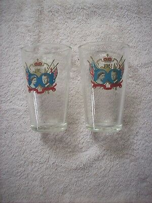 Crown Ware Glasses X 2 1954 Royal Visit Souvenir