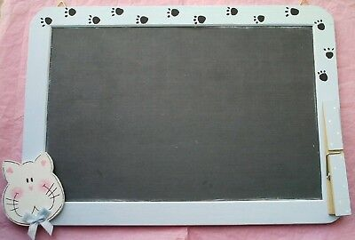 LAVAGNA legno dipinto GATTO country - Lovely handpainted wood CAT BLACKBOARD