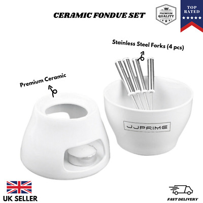 JJPRIME- 1x Ceramic Chocolate or Cheese Fondue Set Stainless Steel Forks Kitchen