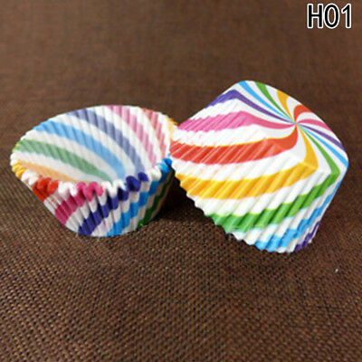 100Pcs Colorful Rainbow Paper Cake Cupcake Liner Baking Muffin Cup Multi-style