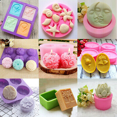 Assorted Silicone Moon Flower Christmas Tree Soap Mold DIY Candle Crafts Mould