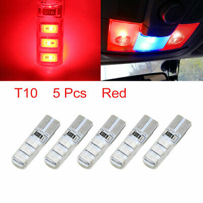 5Pcs Silicone T10 6 Red 5630-SMD-LED Car Light Bulb Wedge W5W 194 168 Interior
