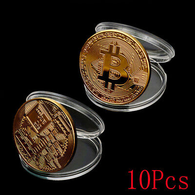 Lot 10pcs Gold Plated Bitcoin Coin Collectible Gift Coin Art Collection Physical