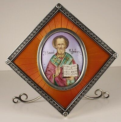 FABERGE SILVER 88 enamel painting icon RUSSIAN IMPERIAL ANTIQUE guilloche enamel