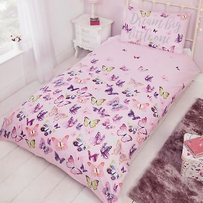 Flitter Flutter Butterfly Single Duvet Cover Set Pink Girls Bedding
