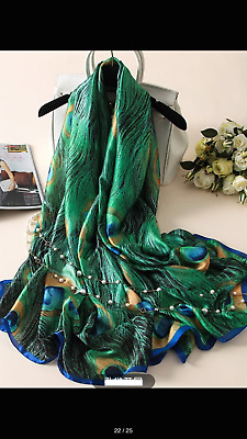 Women's Lady Soft 100% Mulberry Silk  Long Scarf Wrap Shawl Beach Towel