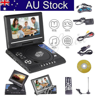 "7""/9"" Mini Portable DVD Player DivX EVD MP4 MP3 JPG Swivel USB SD 300 GAMES FM"