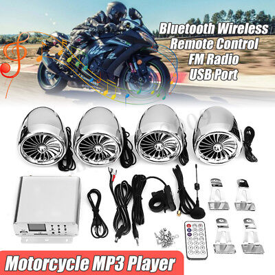 Marine 4 Speaker Motorcycle ATV Bluetooth Audio Stereo Sound Amplifier System FM