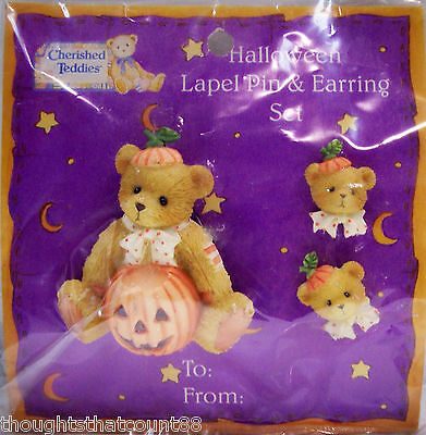Cherished Teddies HALLOWEEN PIN & EARRINGS SET 182958 * FREE FIRST CLASS SHIPPIN