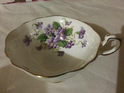 Paragon Bone China  Scalloped Cup Only England      White/purple Violets