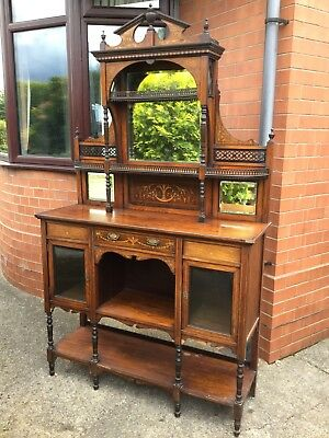 Antique Edwardian Rosewood Inlaid Chiffonier Sideboard Cupboard