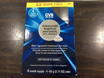 CVS Minoxidil Topical Foam 5% Hair Regrowth Treatment For Men 4 Month Supply