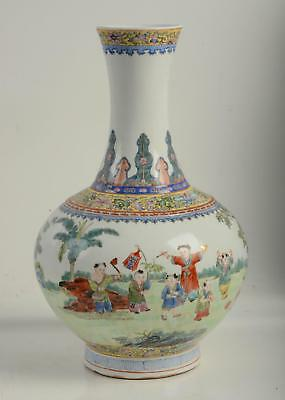 RARE Antique Chinese Porcelain Famille Rose Vase Qianglong Mark Republic LARGE