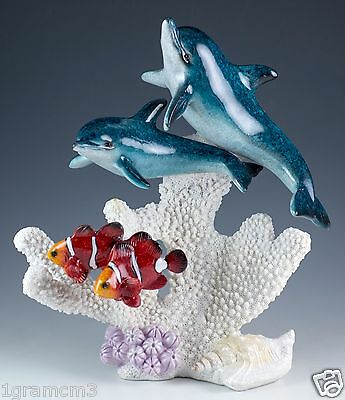 "Pair of Dolphins w/Clown Fish Figurine 8"" High Resin Glossy Finish New In Box!"