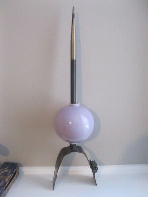 "VINTAGE LIGHTNING ROD WITH PURPLE BALL (SHORT 21"" TALL) with COPPER BASE"