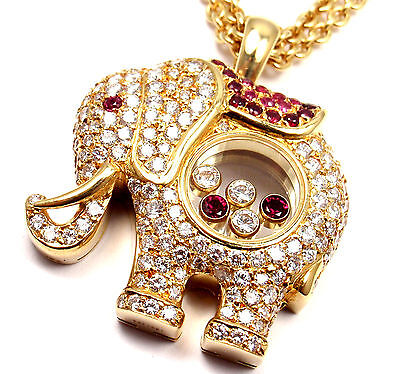 Rare! Authentic Chopard Happy Elephant Diamond Ruby Large Pendant Necklace