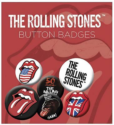 The Rolling Stones Lips  New Official Badge Pack (4x 25mm & 2x 32mm) One Size