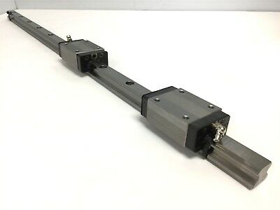 "Lot of 2 THK HSR20R LM Guide Linear Bearing Blocks W/ Rail, Length: 26.5"" Long"