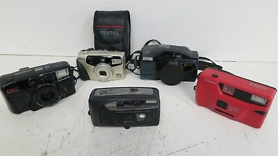 Lot of 5 Untested Point and Shoot Film Cameras-Olympus, Ricoh, Pentax++