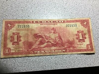 CURACAO 1942 .1 Gulden banknote circulated, wrinkles