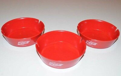 "Lot of 3 Vintage - Red Plastic ""ENJOY COCA-COLA"" Coke Cigarette Ashtrays"