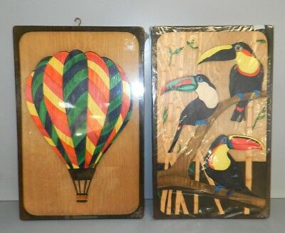 Pair of Signed VTG Cast Carved Wood Art Puzzle Toucan Bird & Hot Air Balloon