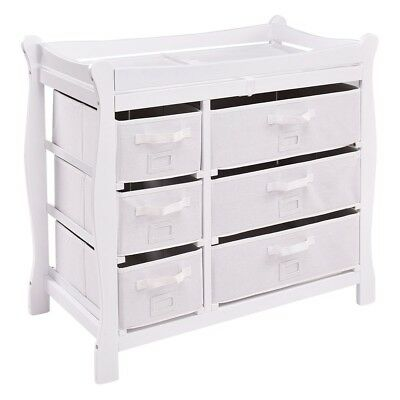 Sleigh Style Baby Changing Table Diaper 6 Basket Drawer Storage Nursery - Wine