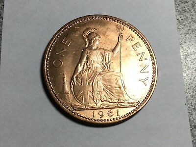 GREAT BRITAIN 1961 1 Penny coin uncirculated