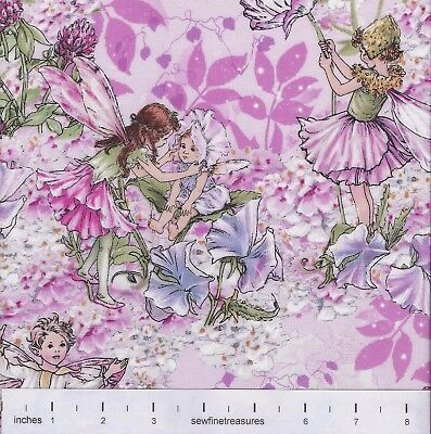 Flower Fairies WHISPER ALLOVER PINK FLOWERS Floral TOT Fabric By the FQ 1//4 YD