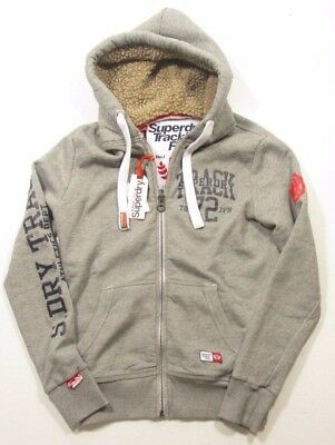 Superdry Men's Light Phoenix Grey Trackster Winter Full Zip Hooded Jacket
