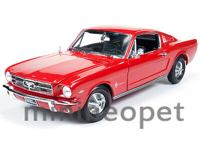 Autoworld Amm1000 1965 65 Ford Mustang Fastback 2+2 Popular Mechanics 1/18 Red