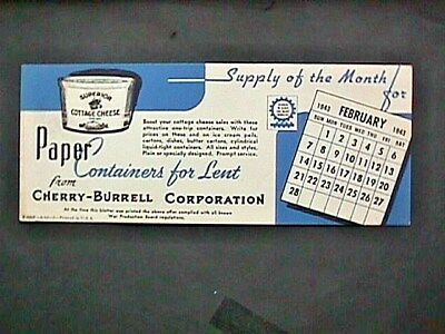 Paper Containers For Lent Cherry Burrell Corp Collectible Blotter Advertising