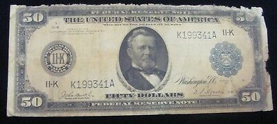 1914 $50 FRN Federal Reserve Large Size Currency Note 11-K Dallas