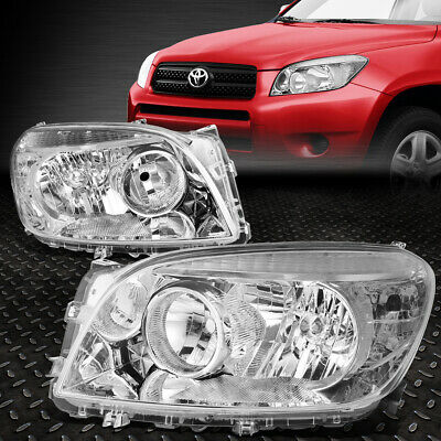 For 2006-2008 Toyota Rav4 Pair Chrome Housing Clear Corner Headlight/lamp Set