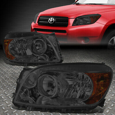 For 2006-2008 Toyota Rav4 Pair Smoked Housing Amber Corner Headlight/lamp Set