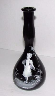 Antique Barbers Bottle Deep Purple Mary Gregory Style Enameling Lady with Flower