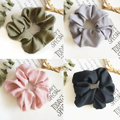 4pcs/set Trendy Hair Scrunchie Elastic Pure Color Hair Band Rope Braid Holder