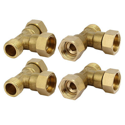 1/2BSP Brass Male to Female Threaded T Shape 3-Way Pipe Fittings Connectors 4pcs