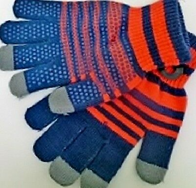 Boys Capacitive Touch Screen Text Winter Knit Stretch Gloves NWT #37140