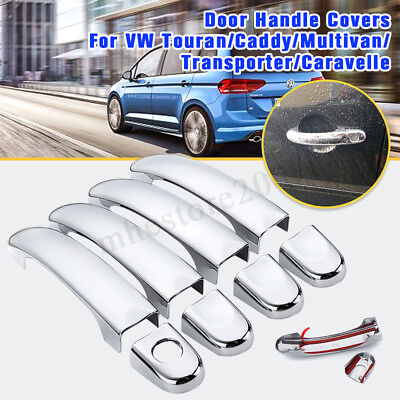 4 Set Chrome ABS Door Handle Covers Trim For VW Touran Caddy 03-13