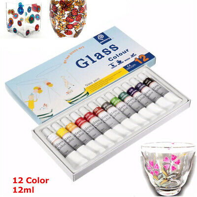 12 Colors 12ml Waterproof Non Toxic Glass Paint Kits Tube Stain Glass Painting