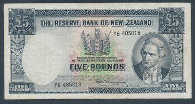 """New Zealand: 1956 £5 Fleming SECURITY THREAD. Prefix """"Letter Number"""" Cat VF $100"""