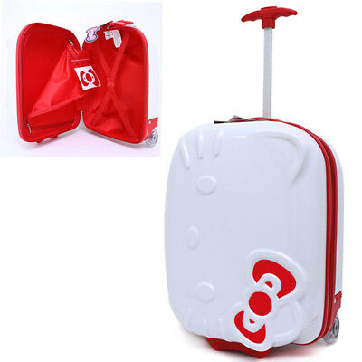 Hello Kitty Rolling Luggage ASB Trolley Bag Hard Suit Case White Face Bow 18