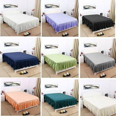 """14"""" Elastic Pleated Bed Skirts Solid Color Dust Ruffle Drop Esay Fit ALL SIZE"""