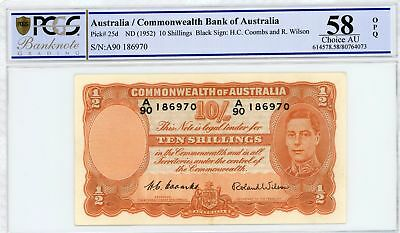 1952 58 Ch UNC 10/- Australia Coombs/Wilson Ten Shilling Banknotes A90186970 #C2