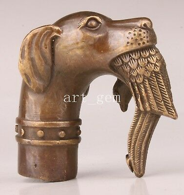 Bronze Statue Animal Dogs Bite Birds Cane Walking Stick Head Handle Collection