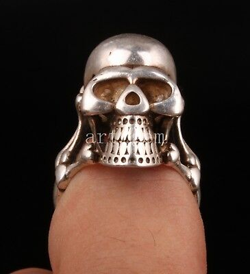 Tibet Silver Men Ring Crafts Gift Figurines Skull Collectable