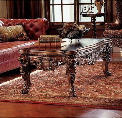 Majestic Hand Carved Regal Solid Mahogany Medieval Antique Replica Coffee Table
