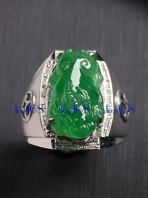 18K Gold Certified 100% Natural A Jade mythical wild animal Ring Jewelry JD1768