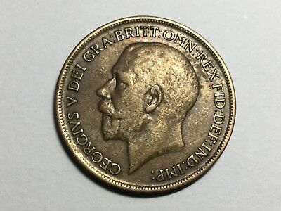 GREAT BRITAIN 1917 1 Penny coin nice condition